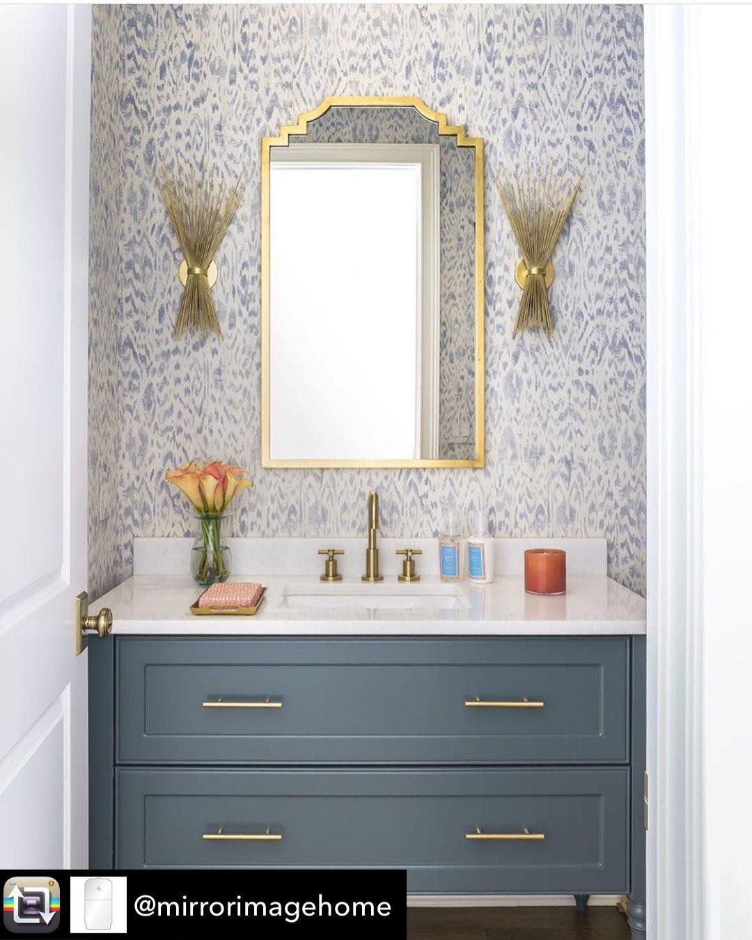 "Peridot- Home & Gift Boutique on Instagram: ""One of our favorite mirror sources @mirrorimagehome is featured in this powder room by @cindymccorddesign. It's absolutely stunning! Come…"""