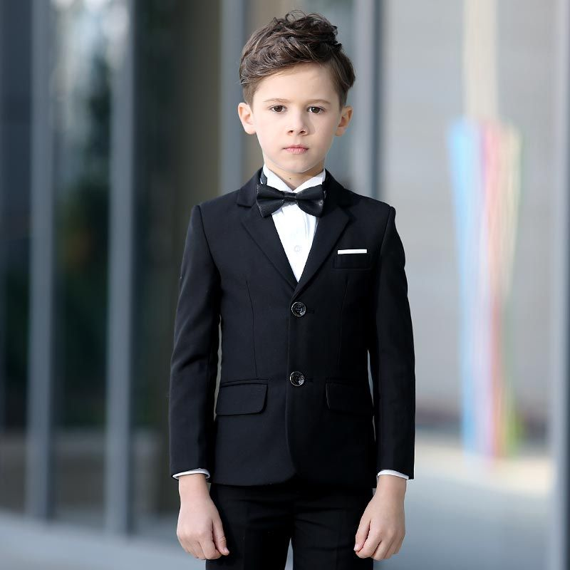SIZE: 2T to 14 GRADUATION BLACK SUIT SET TEEN RING BEARER BOYS TODDLER
