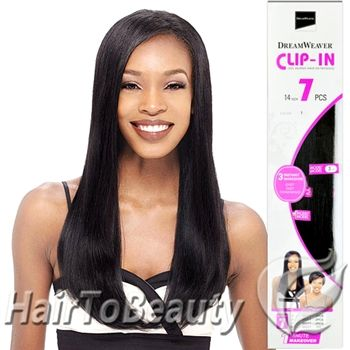 Model DreamWeaver 100 Human Hair Weave Extensions CLIP IN HAIR 14 Inch 7PCS