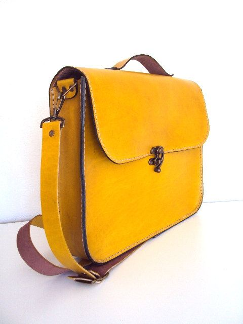 Handmade Laptop Bag Yellow Leather Briefcase