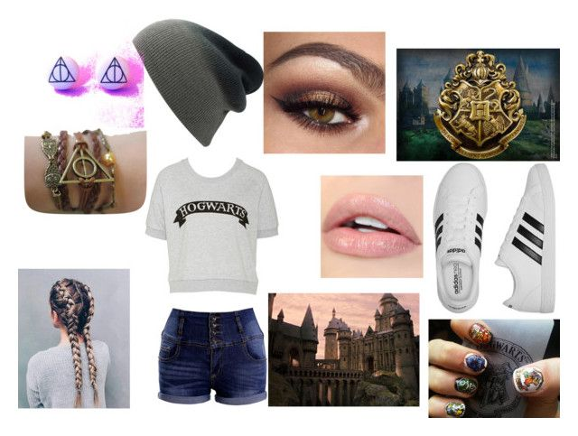 """""""Hogwarts Outfit"""" by wookienoodles ❤ liked on Polyvore featuring adidas, harrypotter and hogwarts"""
