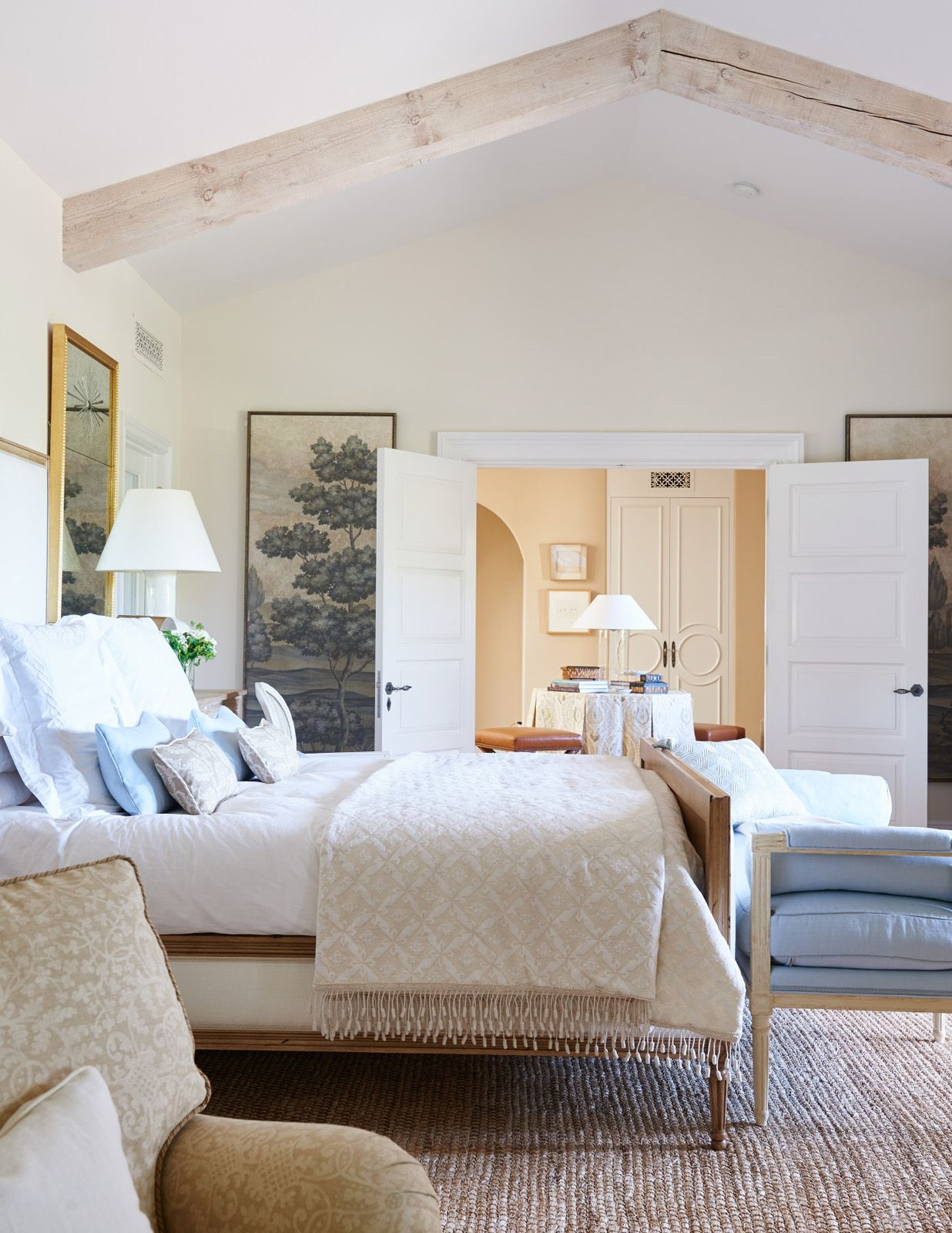 Master bedroom with 2 beds  Pacific Palisades No   Mark D Sikes  exquisite bedroom in pale