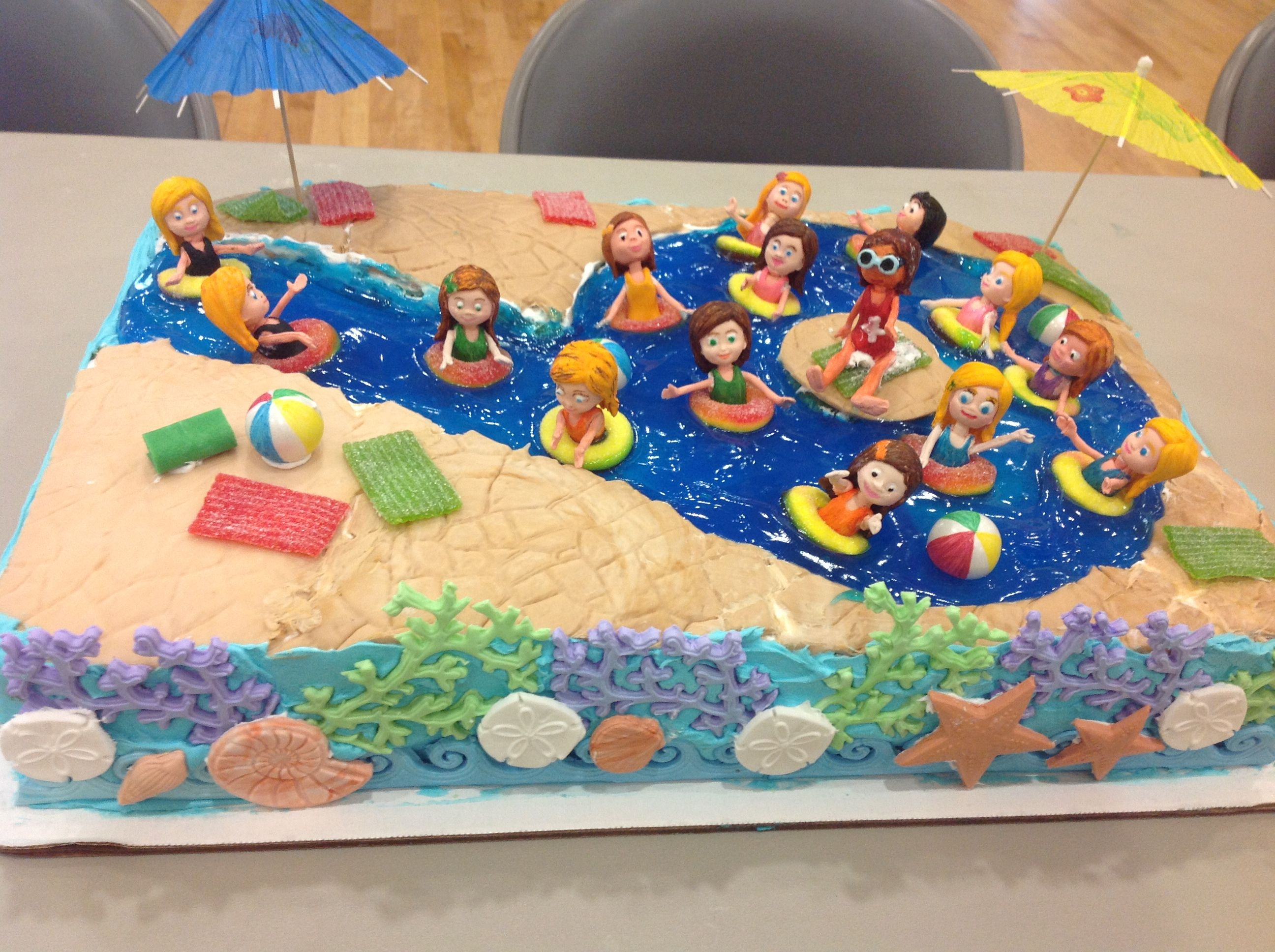 Swimming Pool Cake With A 9 Lazy River With Images Pool Party