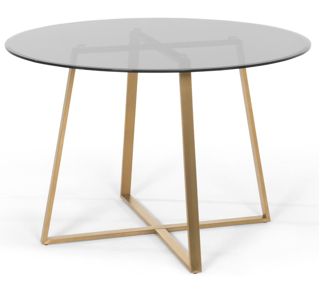Haku 4 Seat Round Large Dining Table Brass And Smoked Glass