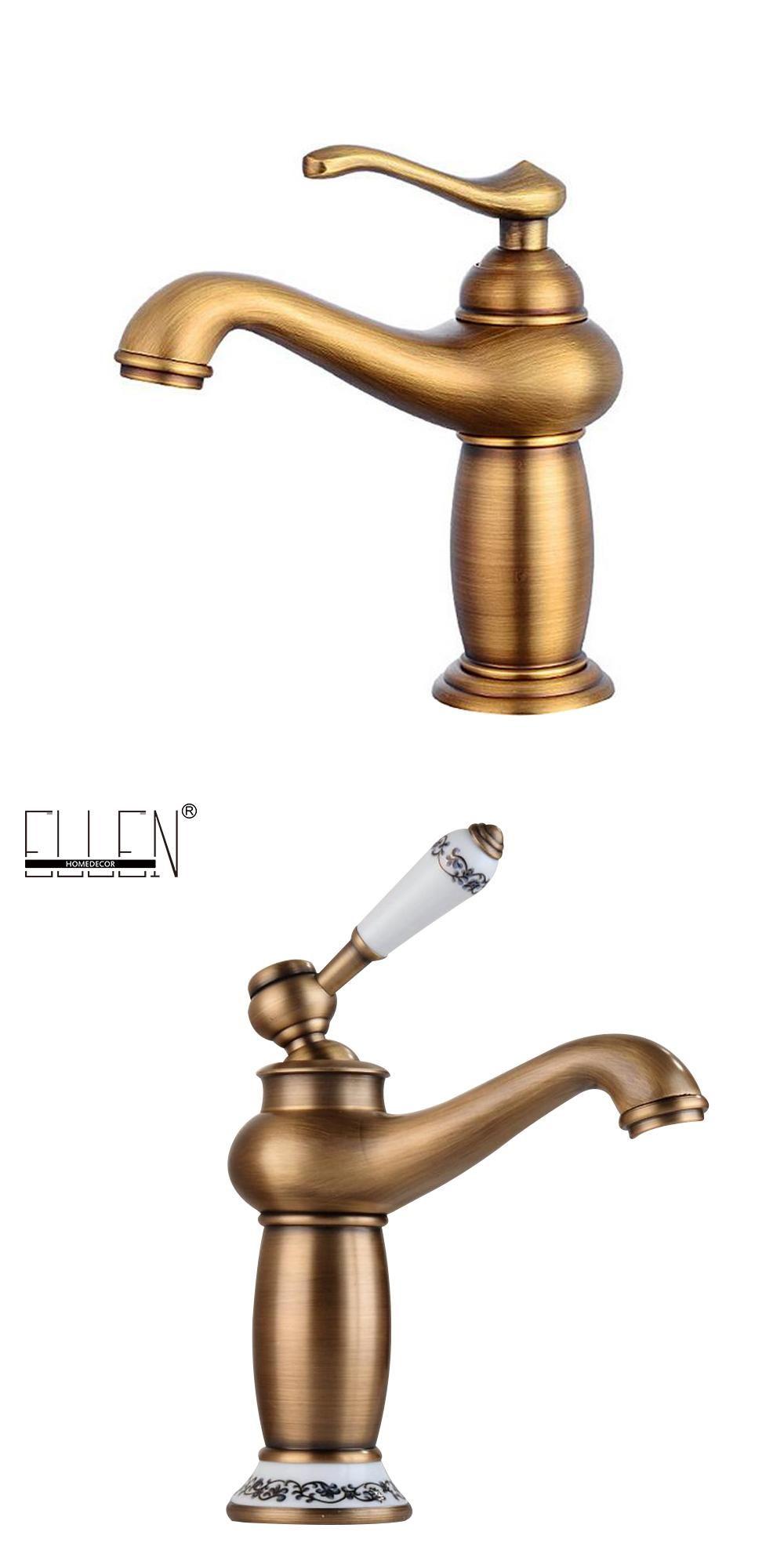 Bathroom Faucet Antique bronze finish Brass Basin Sink Faucet Single ...