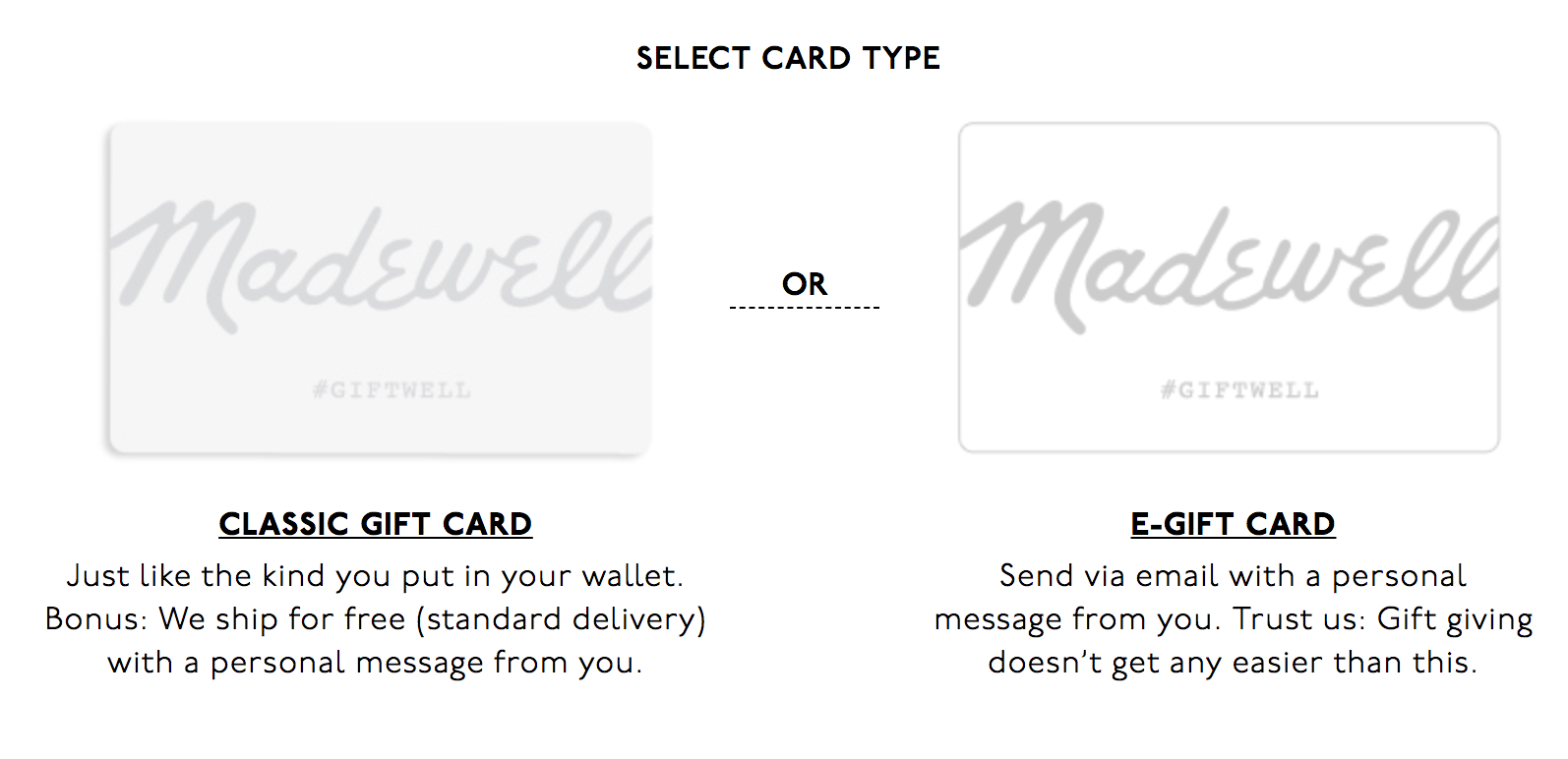 Madewell giftcard Classic gifts, Gift card, Egift card