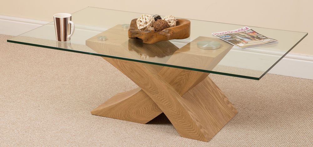 Details About Milano Oak Glass Wood Coffee Table Cross Leg Wooden Living Room Furniture Home