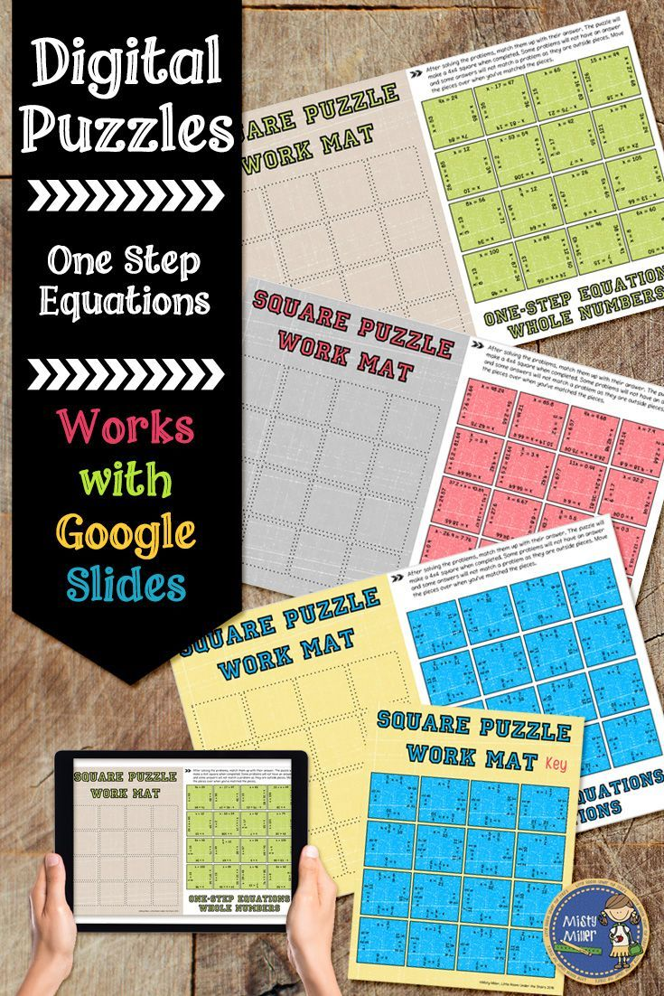 One Step Equations Digital Interactive Square Puzzles