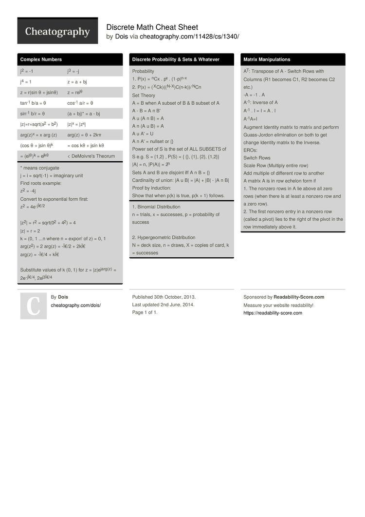 Pin By Cheatography On Cheat Sheets Math Cheat Sheet