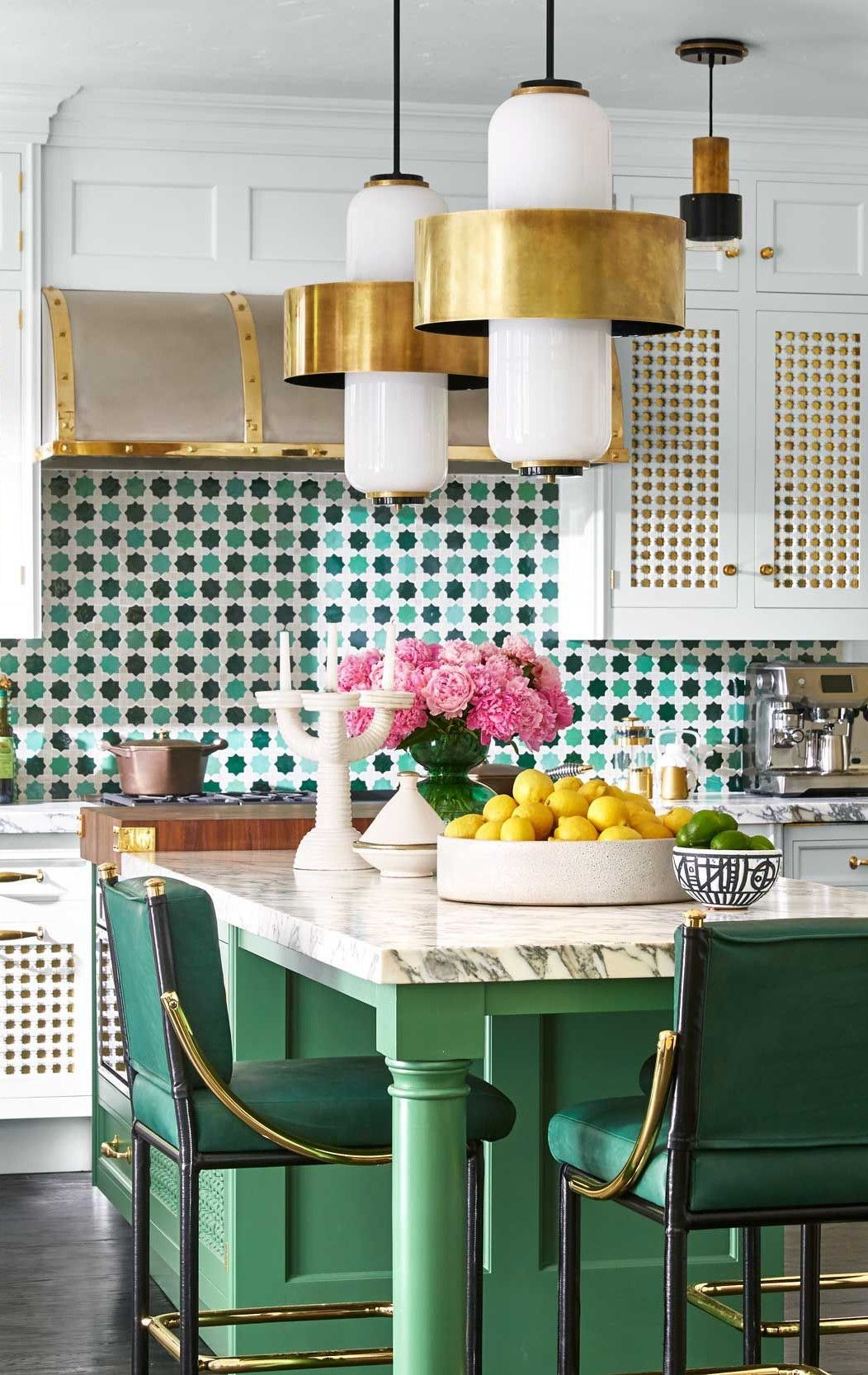 Photo of Modern, Colorful, Festive Kitchen Design with Drum Style Pendants and Green Tile Accents