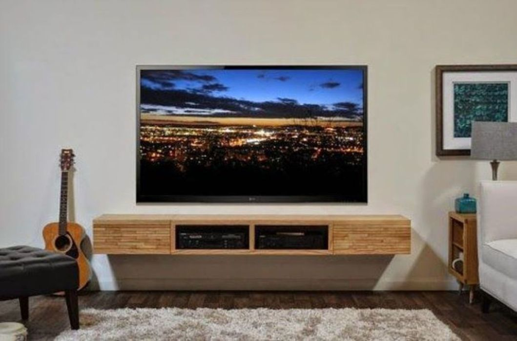 Affordable Wooden Tv Stands Design Ideas With Storage 29 Bedroom Tv Wall Tv Wall Design Wall Mounted Tv Console