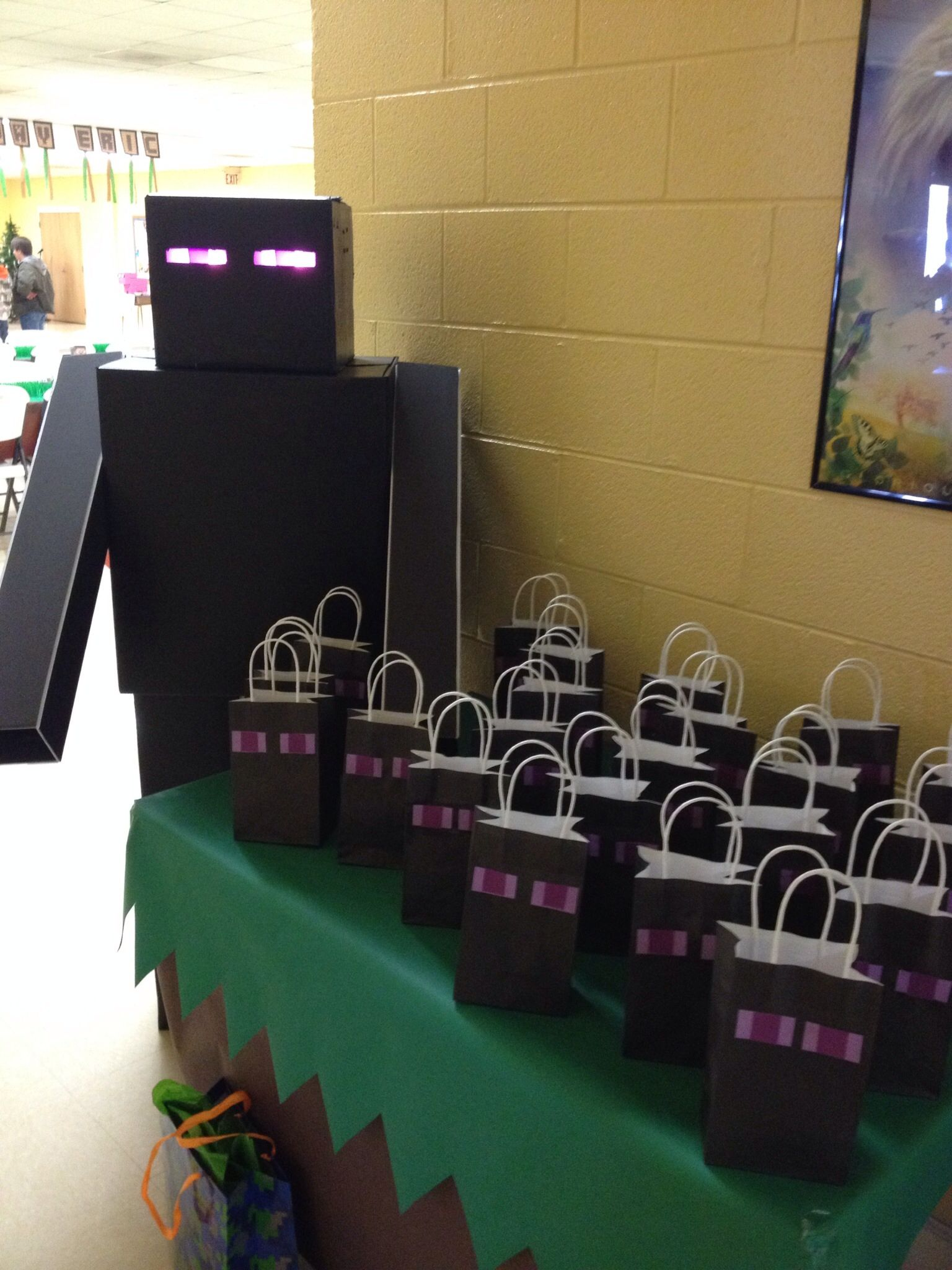 Minecraft Party Giant Enderman Constructed By Hubby From Boxes And Foam Board With Light Up