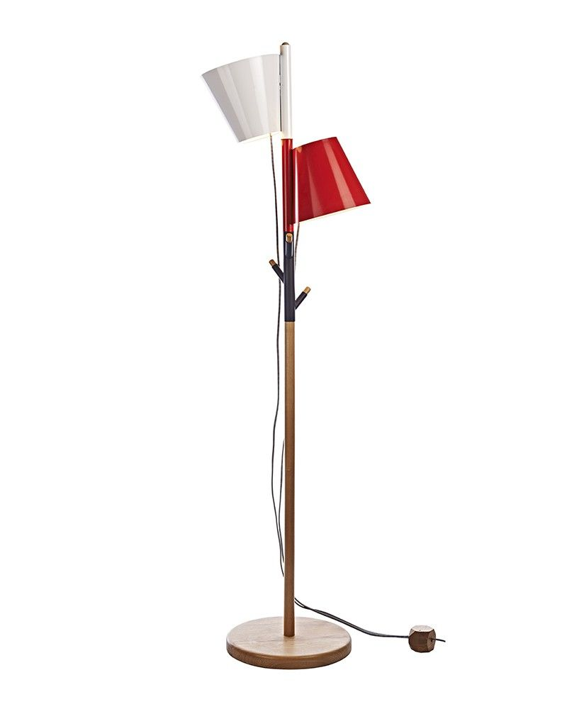 Contemporary Style Wooden Floor Lamp with White & Red Shades