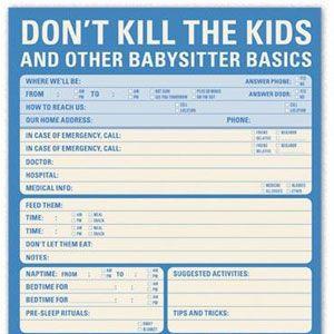 Epic image regarding babysitter checklist printable