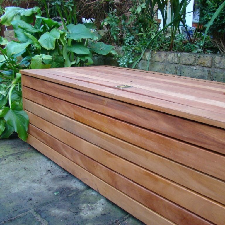 Beautiful Storage Unit On Inside Of Low Wall, On Front Wall In Front Garden. Bespoke  Bench In Garden Design East Finchley North London Garden