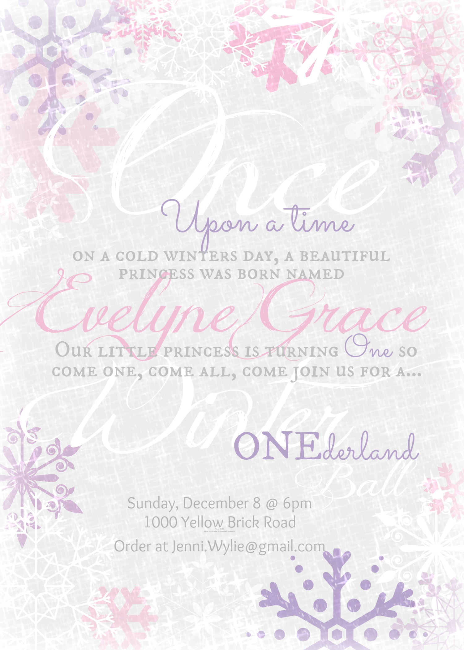Pink and purple snowflakes, ONEderland party invite. First birthday ...