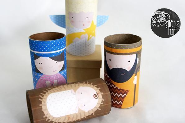 Imprimible de pesebre reciclando rollos de papel navidad - Manualidades navidad papel ...