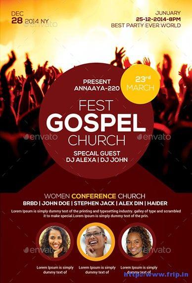 Gospel fest church flyer template church graphic design pinterest flyer template churches for Free church flyers