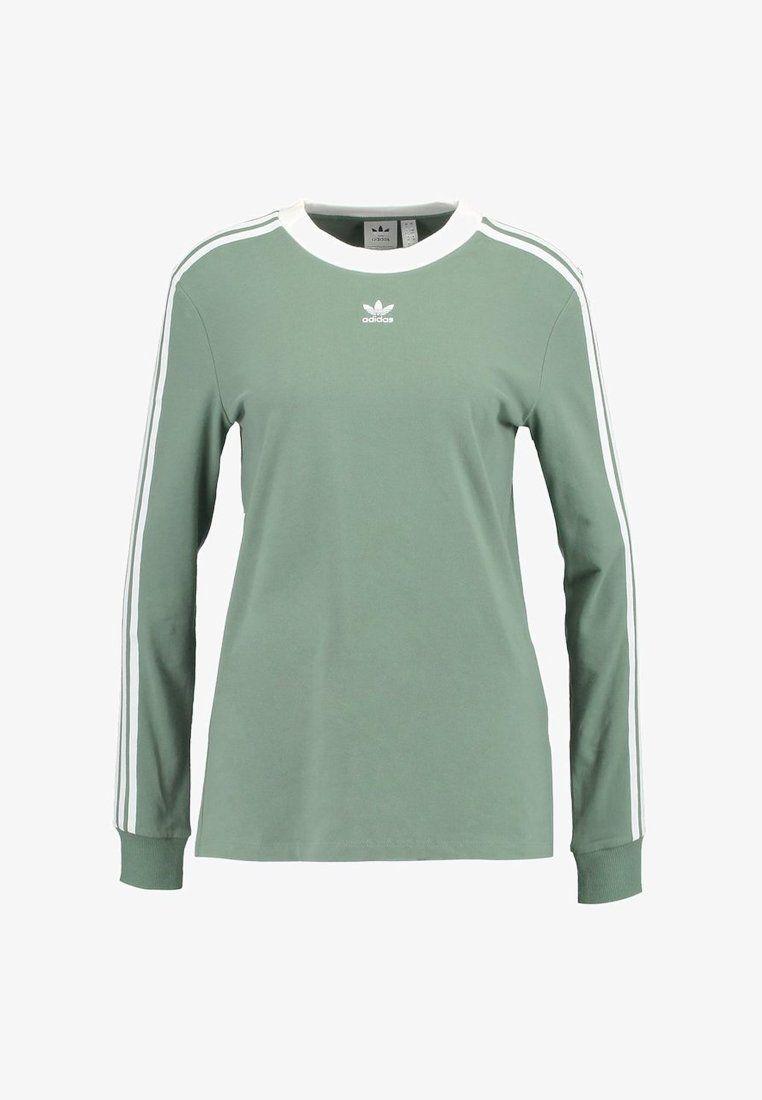 3 STRIPES Langærmede T shirts trace green i 2019 | Mode
