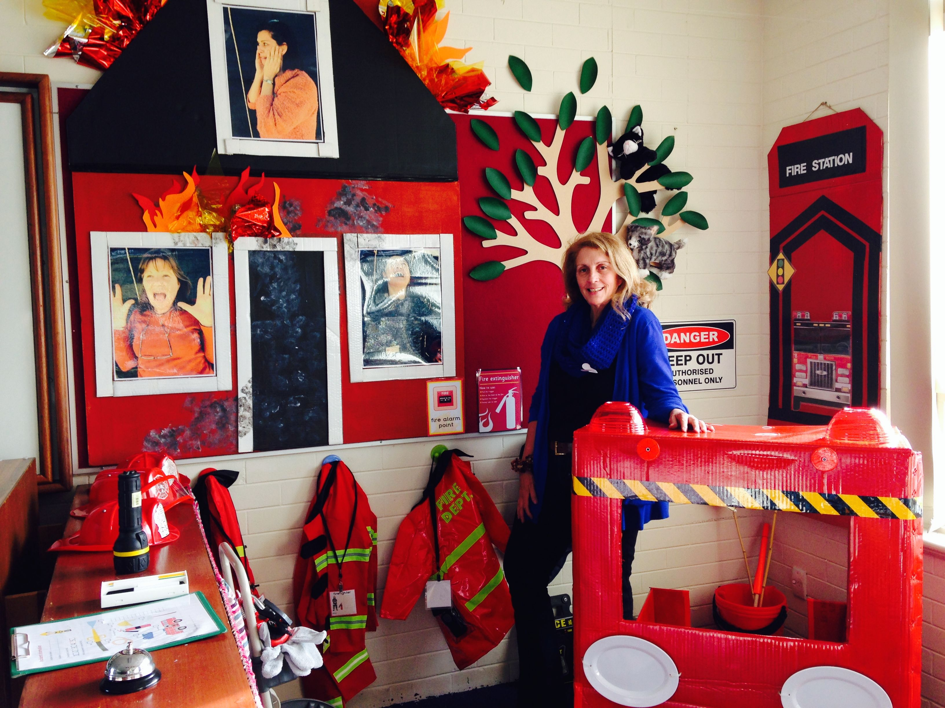 My Fire Station home corner complete with cats up a tree
