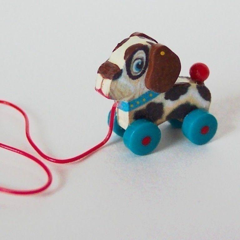 Miniature Dollhouse Dog Pull Toy KIT 101.
