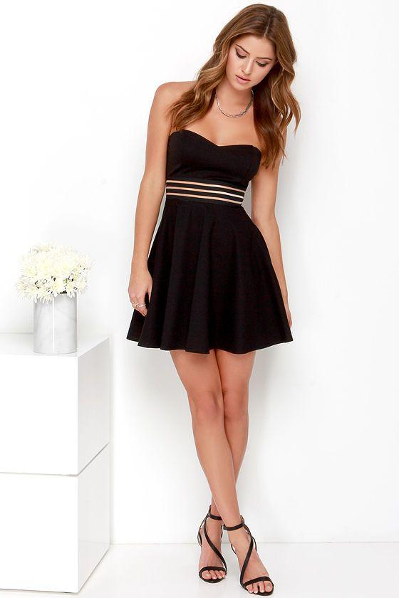 Black Strapless Skater Dress Retail Prices 98690 91558 Zamzaam
