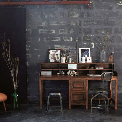 Black painted walls, industrial style home office | My Place ...