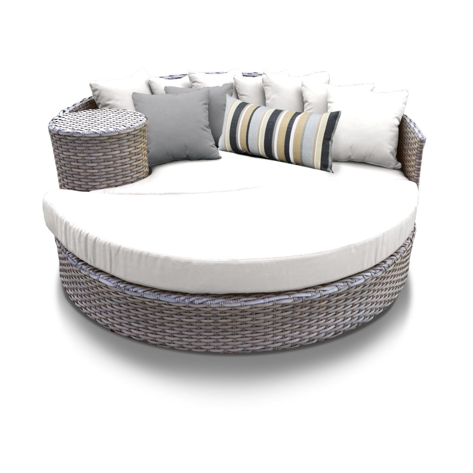 Oasis Circular Sun Bed Outdoor Wicker Patio Furniture Silver