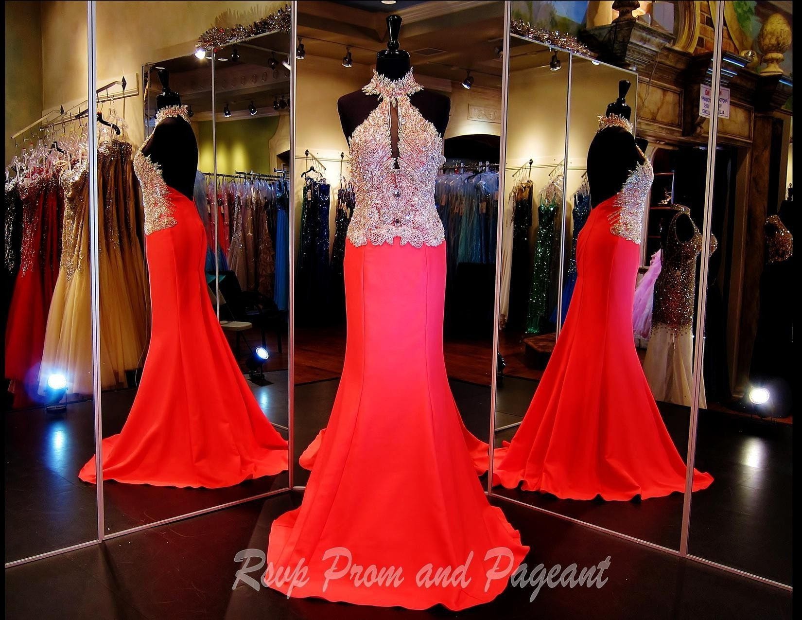 Coral high neck mermaid prom dress products pinterest