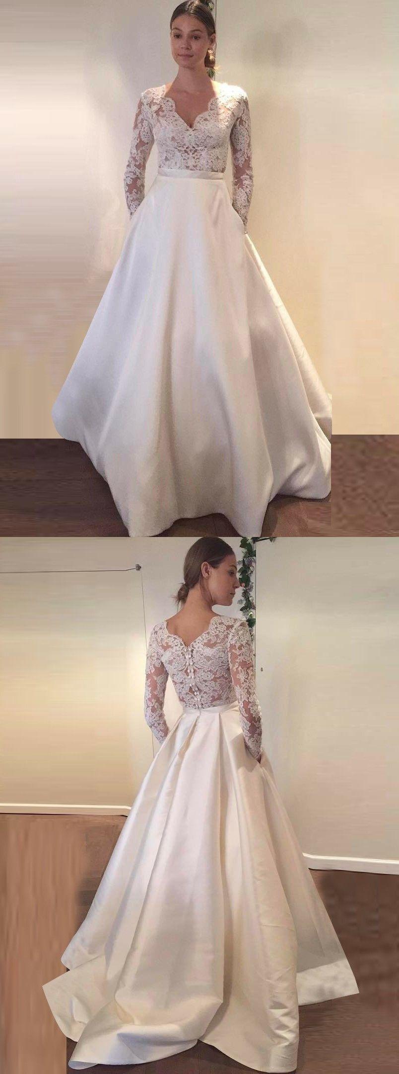 Aline scallopededge long sleeves satin wedding dress with pockets