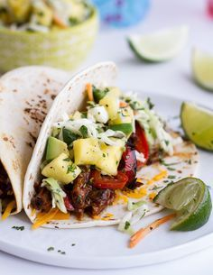 Hawaiian Hula Pork Fajitas with Pineapple Slaw + Coconut Rice #hawaiianfoodrecipes