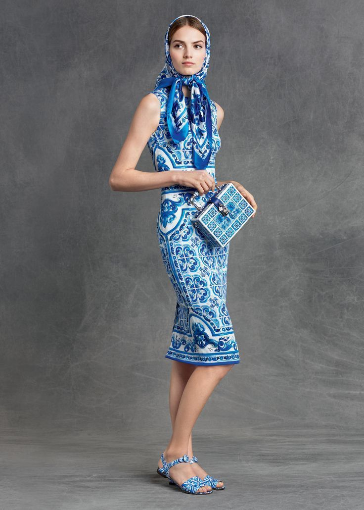 Dolce And Gabbana Majolica Maiolica Stretch Silk Sleeveless Blue Print Dress Ebay