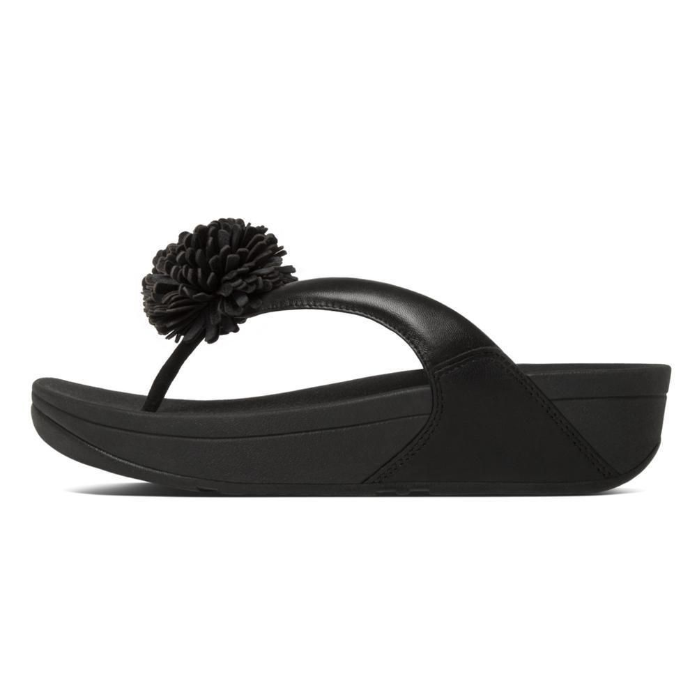 80211eed75c3 FITFLOP Flowerball Flower Black PLATFORM WEDGE Sandal 8 Slip On Thong  Leather  FitFlop  FlipFlops  Any