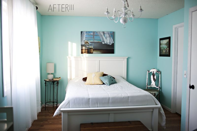 turquoise and white with floorboards needs more to it, a