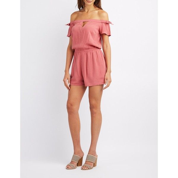 4652b6f756a2 Charlotte Russe Gauze Off-The-Shoulder Romper ( 27) ❤ liked on Polyvore