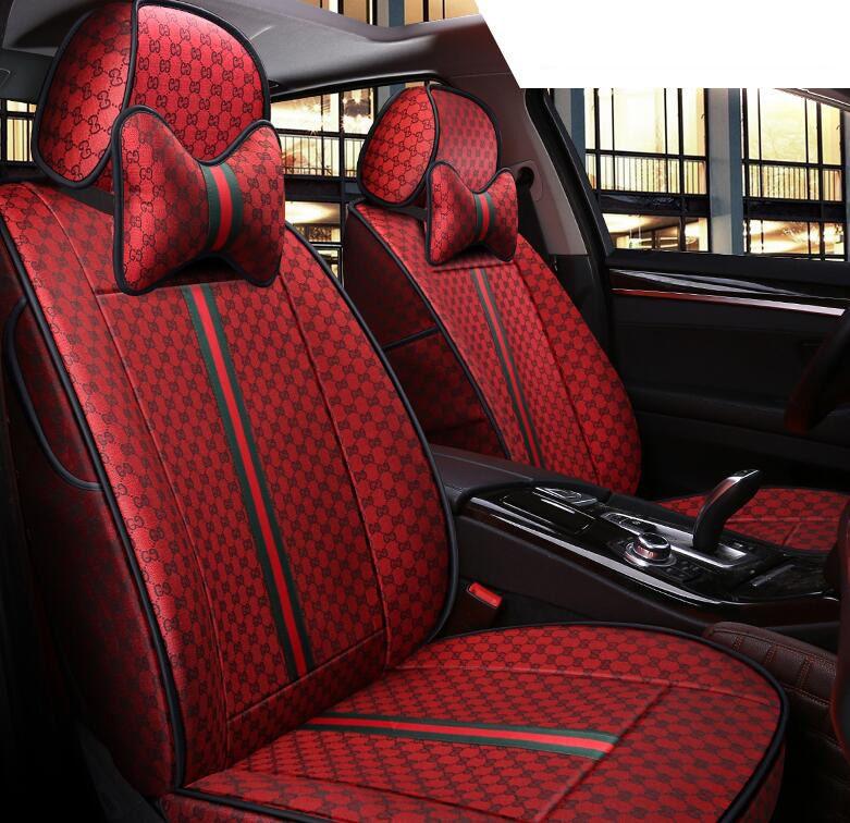 309 71 Cool Flax Fashion Gucci Car Seat Covers Universal Pads Seat Cushions 8pcs Red Cute Car Accessories Car Seats Luxury Car Interior