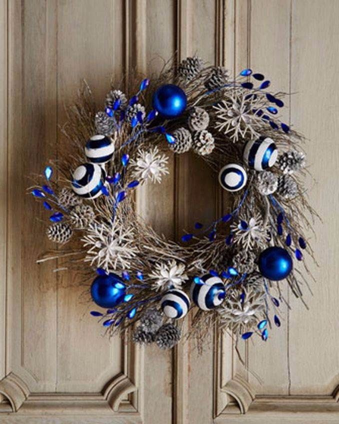 40 Fresh Blue Christmas Decorating Ideas Family Holiday Net Guide To Family Holidays On The Internet Blue Christmas Decor Blue Christmas Front Door Christmas Decorations