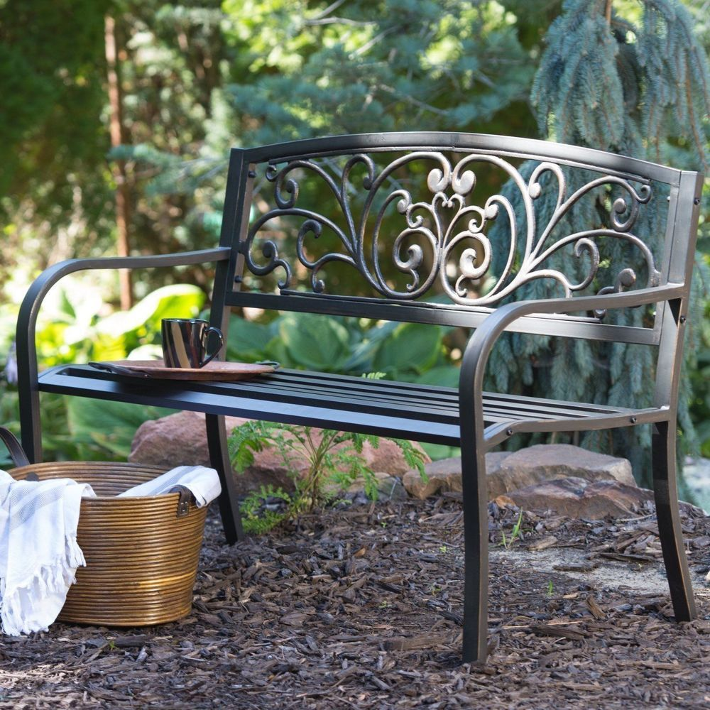 Cool Zen Garden Bench Outdoor Metal Patio Deck Brown Heavy Duty Machost Co Dining Chair Design Ideas Machostcouk