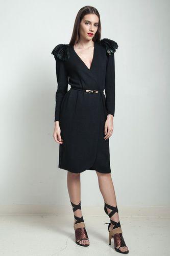 118d72c48fb vintage 80s St. John black sweater wrap dress v neck feather epaulette cape  belted LARGE PLUS SIZE XL 1X