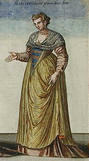 'Habitus Varium Orbis Gentium', 1581 Middleclass Venetian Woman