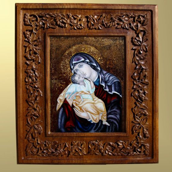 Wall art, wood carving, Virgin Mary and Jesus, Christian religious icon, Byzantine icon, art wood carving, home decor, MariyaArts on Etsy, $9,500.00