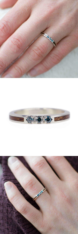 Blue Diamond Wedding Ring In White Gold & Mahogany