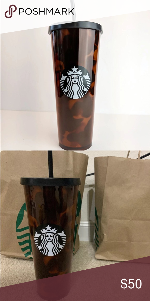 bbe61ba4cc5 STARBUCKS tortoise shell venti cold cup 24 oz NWT. Tortoise shell with  matte black lid. Cold cup. 24 oz. Starbucks Other