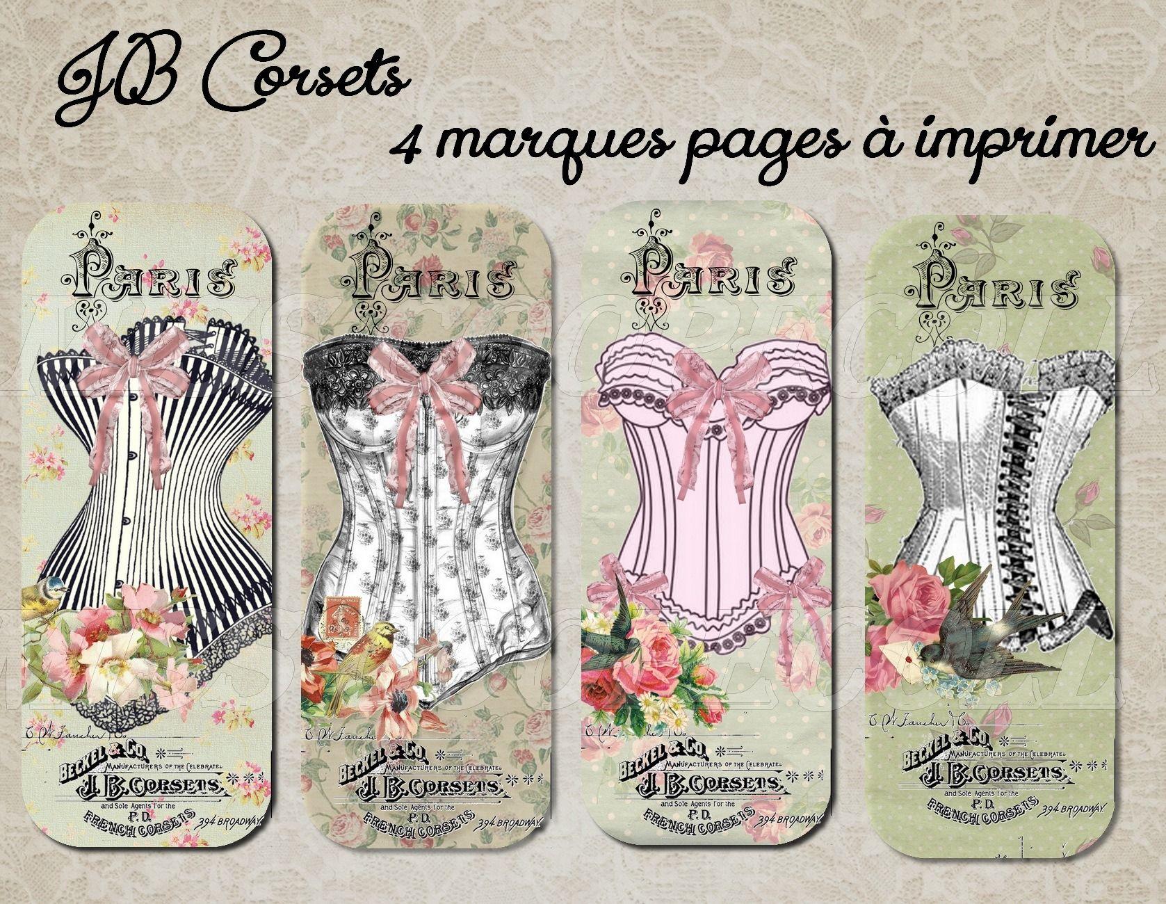 4 marques pages imprimer jb corsets marque pages par miss coopecoll corsets pinterest. Black Bedroom Furniture Sets. Home Design Ideas