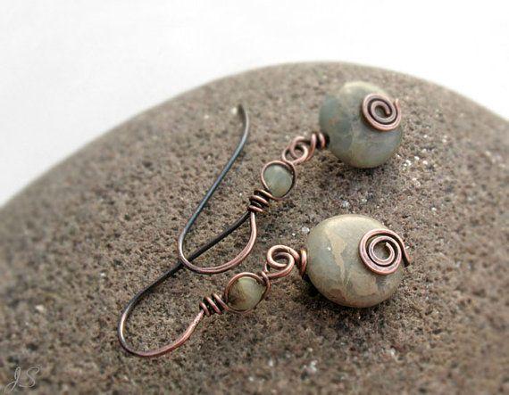 Hey, I found this really awesome Etsy listing at https://www.etsy.com/uk/listing/252399494/aqua-terra-jasper-copper-earrings