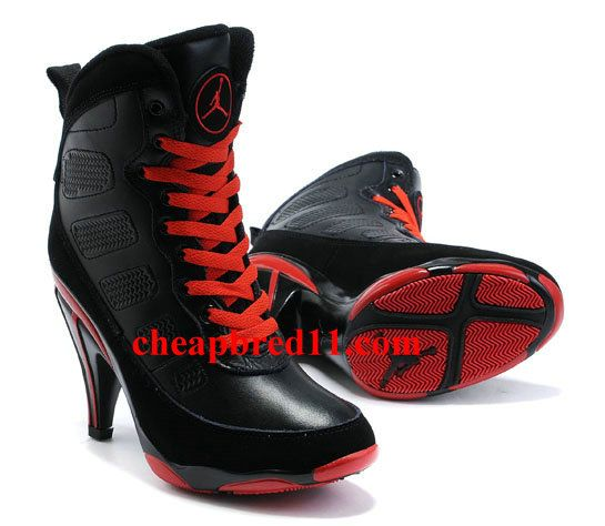 Womens Air Jordan 9 High Heels Black Red