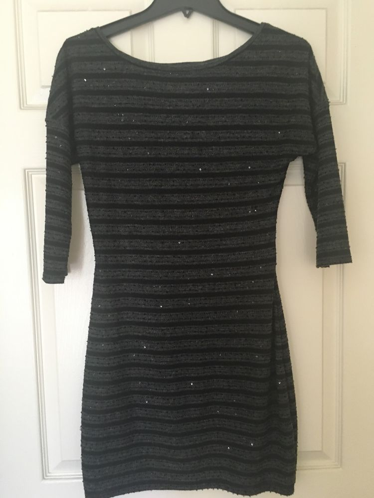 Black and gray striped sweater dress