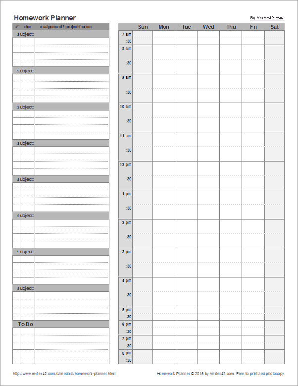 Free Printable Homeschool Student Homework Planner Pdf From