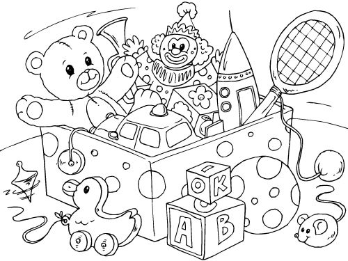 Coloring Page Toys  Coloring Pages  Pinterest  Toy Toy Boxes And