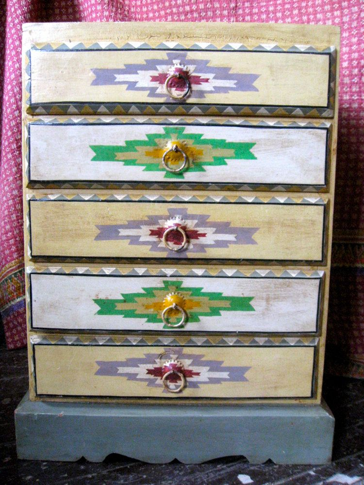 vintage indian bedside table with navajo decoration home